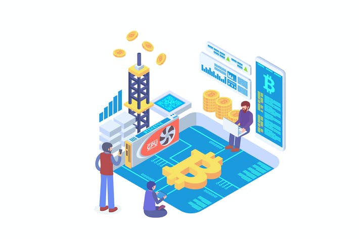 Thumbnail for Bitcoin Mining Isometric Vector
