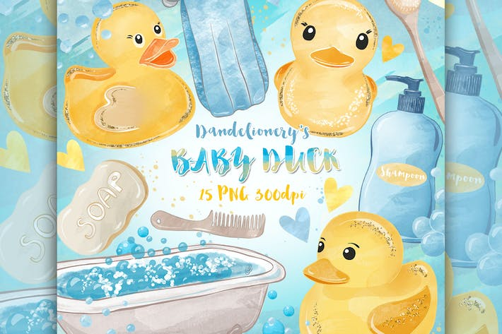 Thumbnail for Watercolor Baby Duck design