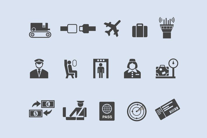 Thumbnail for 15 Airline and Airport Icons