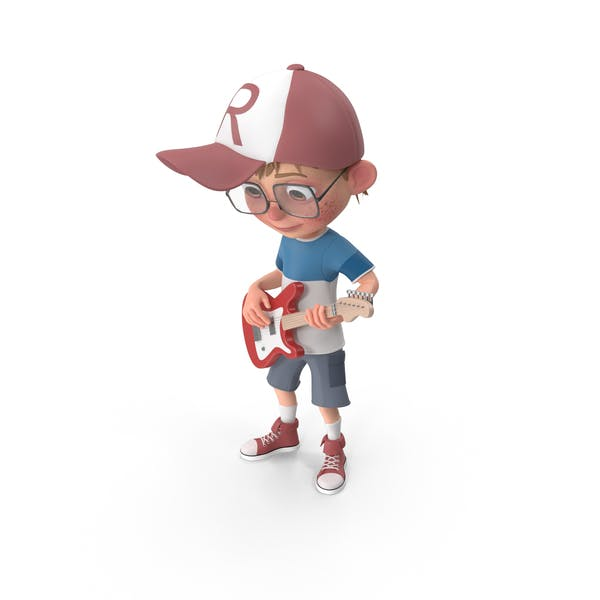 Cartoon Boy Harry Playing Guitar