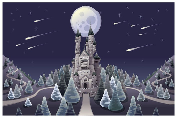 Thumbnail for Panorama with medieval castle in the night.