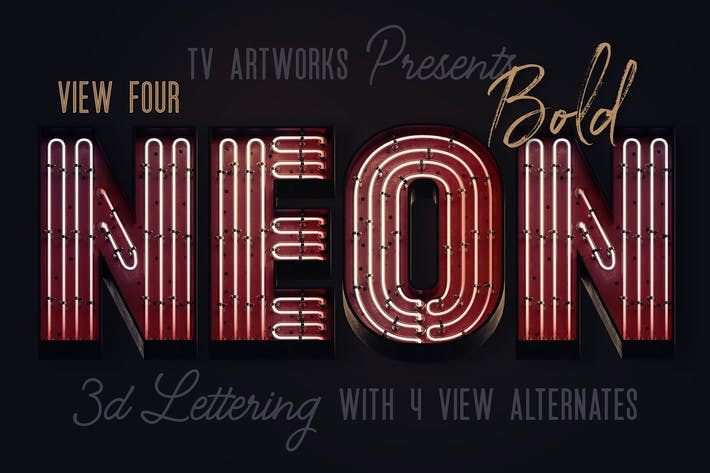 Thumbnail for Bold Neon 3D Lettering View 4