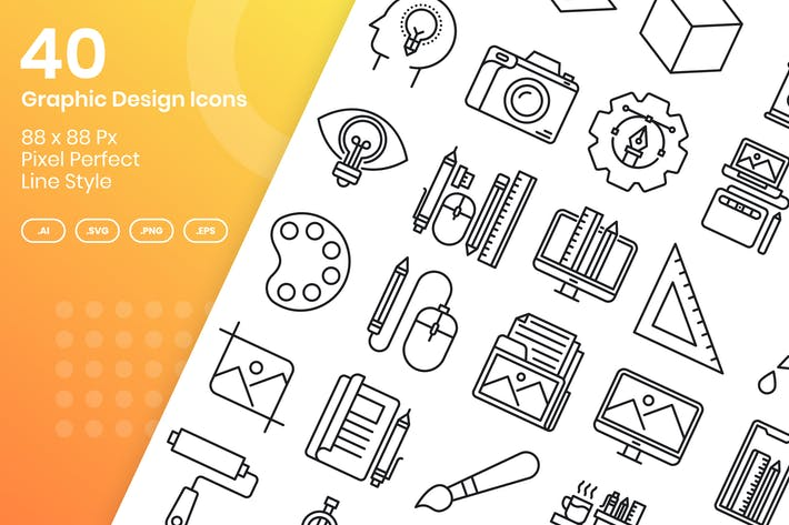 Thumbnail for 40 Graphic Design Icons Set - Line