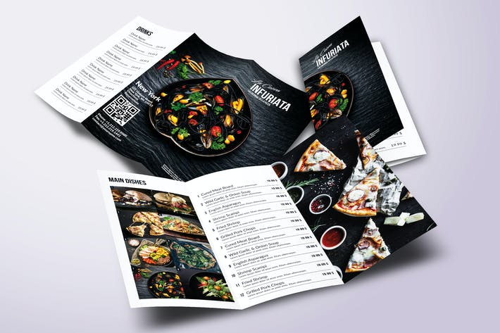 Thumbnail for Minimal Modern Trifold A4 & US Letter Food Menu