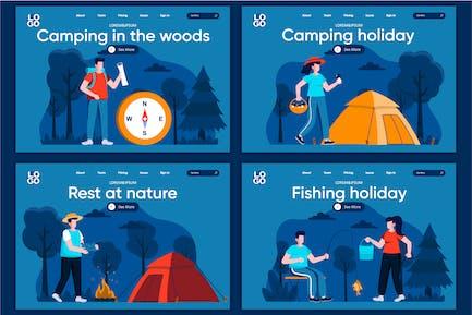 Camping Flat Concept Modèle de page d'atterrissage