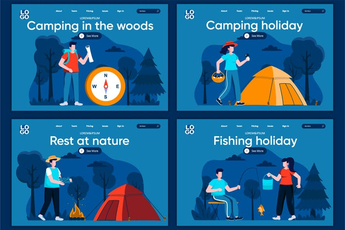 Thumbnail for Camping Flat Concept Landing Page Template