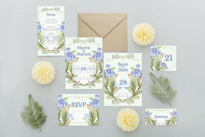 Blue Summer Rose - Wedding Invitation