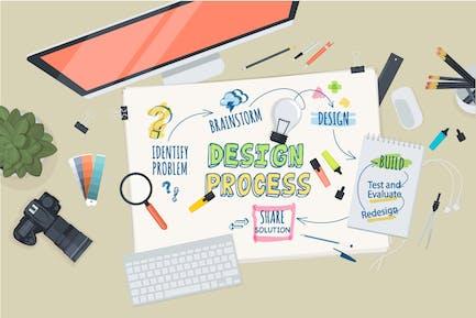 Flat Design Concept for Design Process