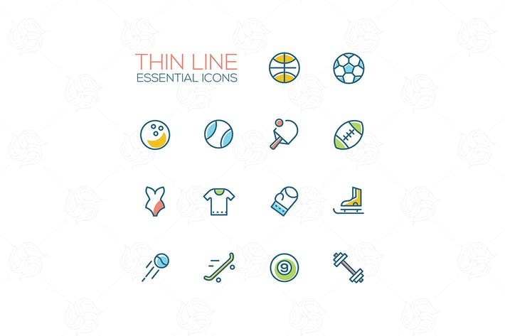 Thumbnail for Sports - modern vector thin line icons set