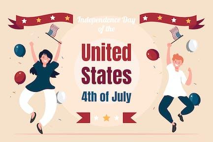 Feliz día de la independencia - ilustración plana