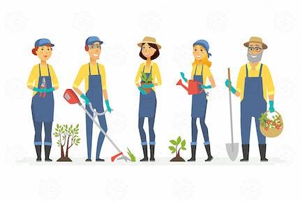 Jardineros con herramientas - ilustración aislada