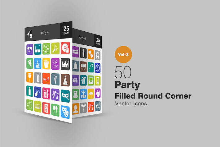 Thumbnail for 50 Party Flat Round Corner Icons