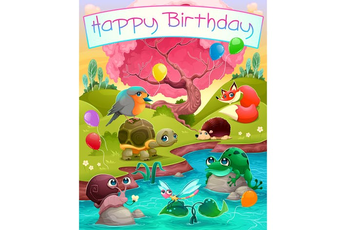 Thumbnail for Happy Birthday Card with Animals in Countryside