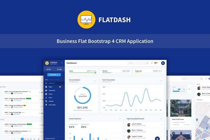 FlatDash - Application de tableau de bord CRM Business