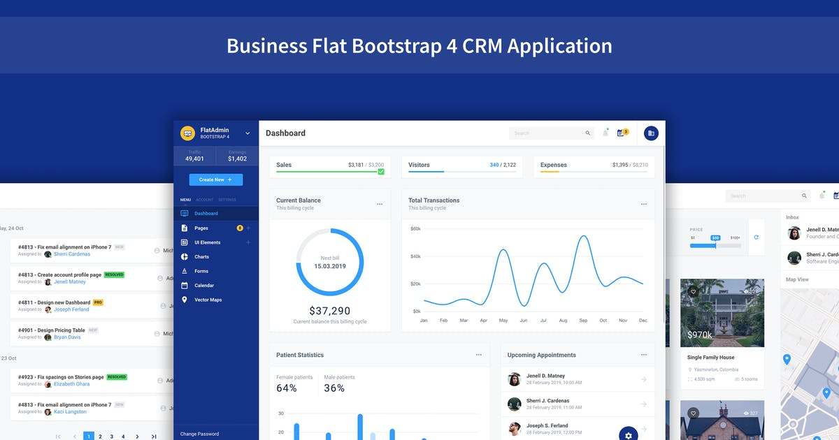 Download FlatDash - Business CRM Dashboard Application by Frontted