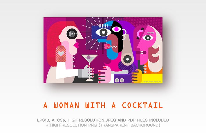Thumbnail for A Woman With a Cocktail vector ilustration