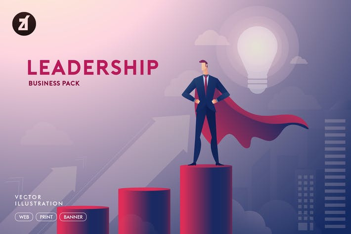 Thumbnail for Businessman leadership illustration with layout