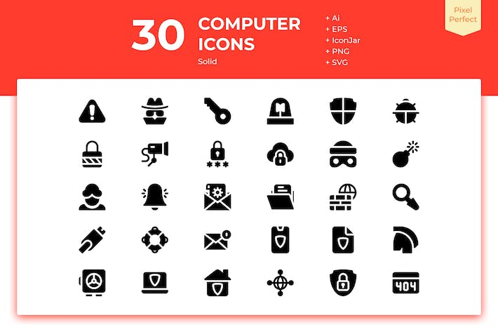 Thumbnail for 30 Computer Security Icons (Solid)
