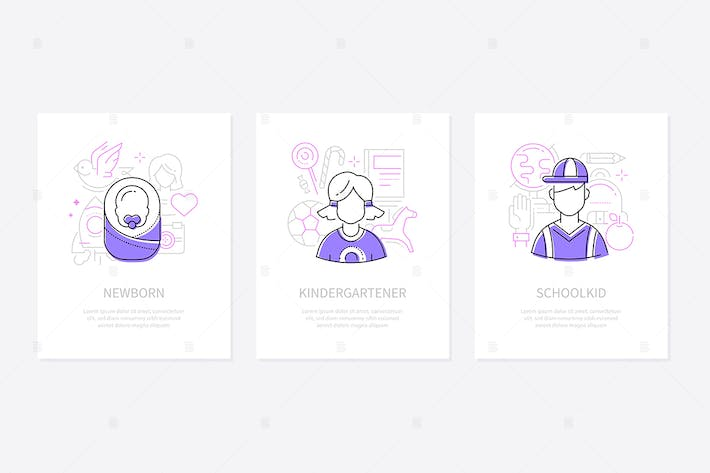 Thumbnail for Childhood - line design style conceptual banners