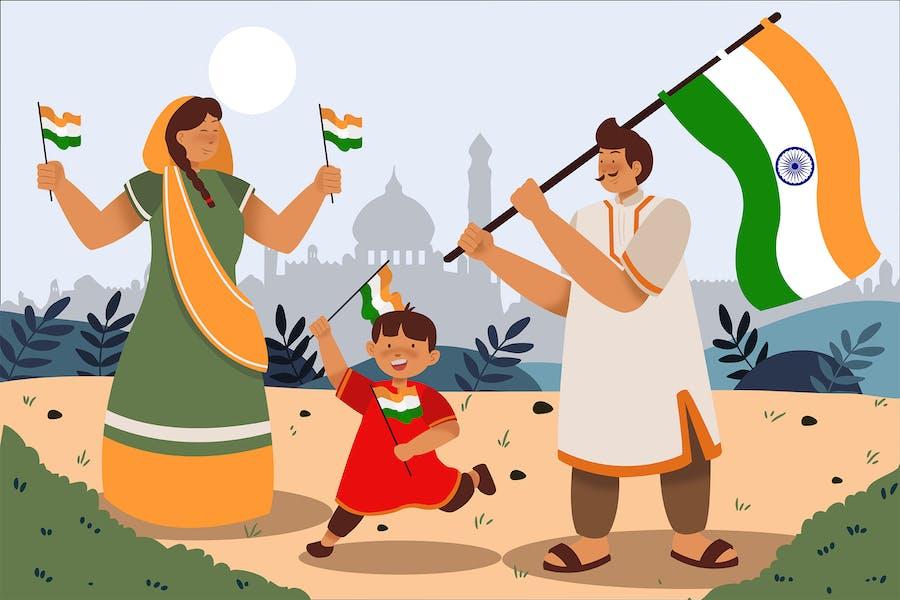 Celebrating Republic Day of India - Illustration