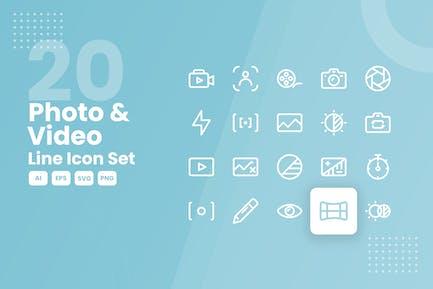 20 Conjunto de iconos de línea de fotos y Vídeo