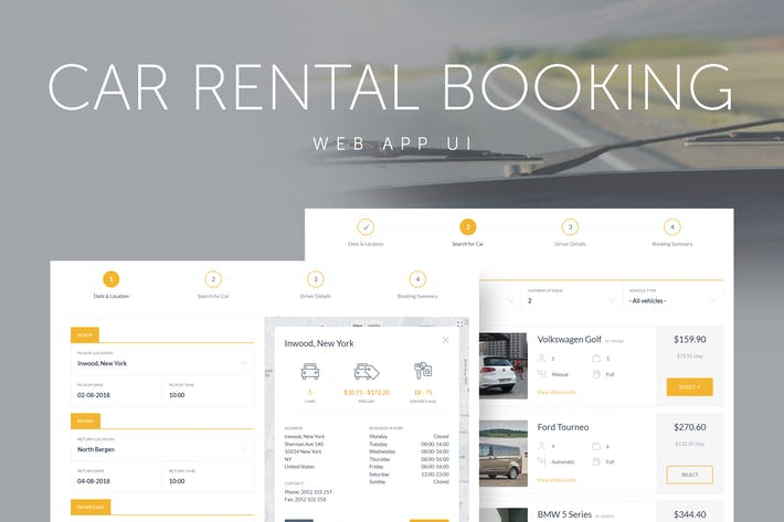 Car Rental Booking System Web App UI by QuanticaLabs on Envato Elements
