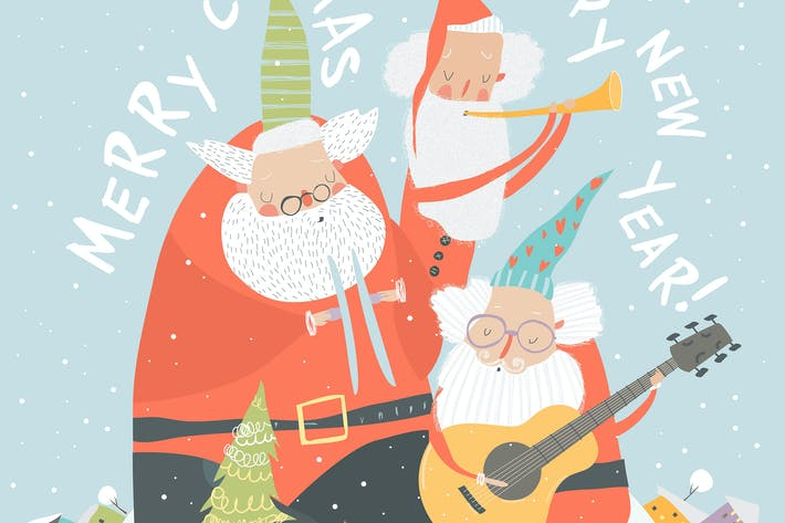Thumbnail for Funny Santa Clauses playing musical instruments. V