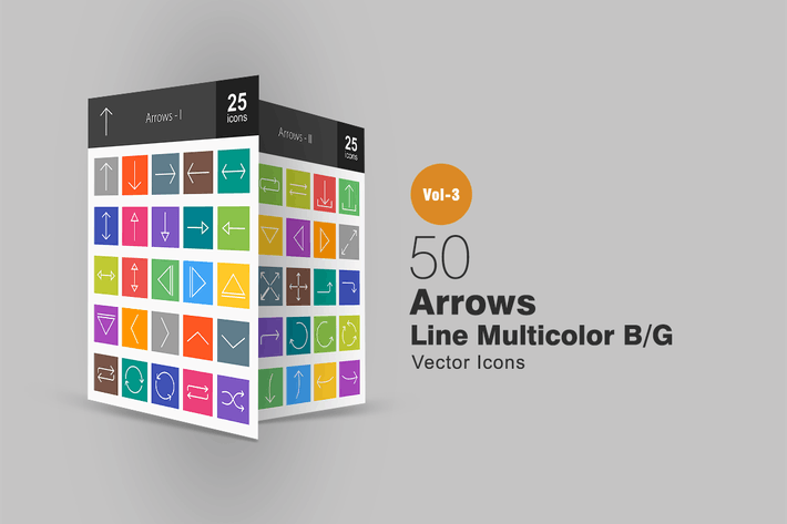 Thumbnail for 50 Arrows Line Multicolor Icons