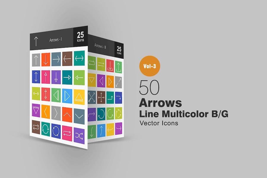 50 Pfeile Linie Multicolor Icons