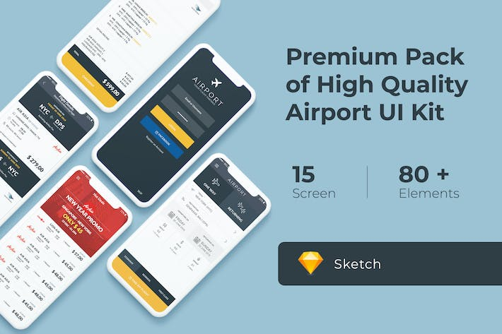 Thumbnail for Flight and Ticket Booking UI KIT for Sketch