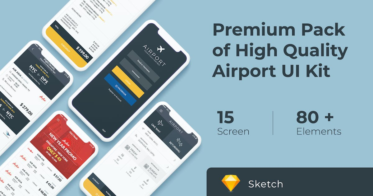 Download Flight and Ticket Booking UI KIT for Sketch by WPBootstrap