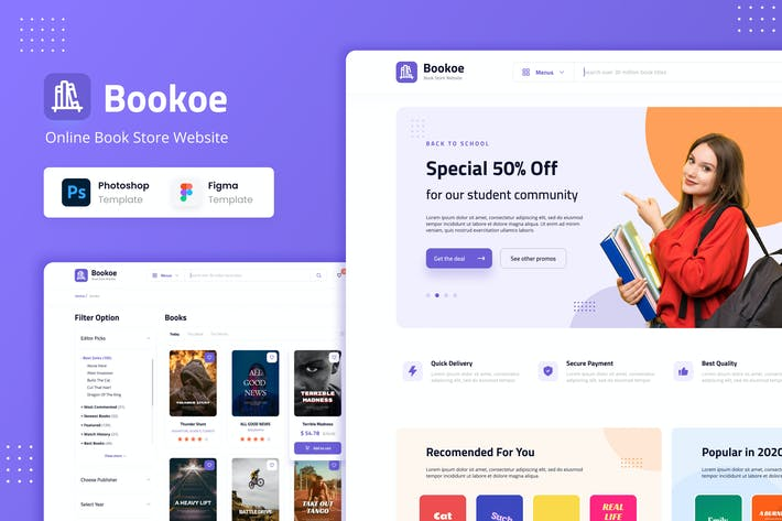 Thumbnail for Bookoe - Book Store Website UI Design