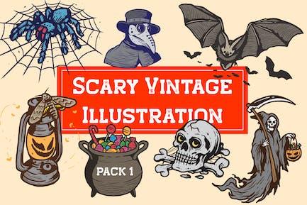 Scary Vintage Illustration Pack 1