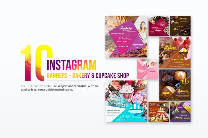 Thumbnail for 10 Instagram Post Banner - Bakery and Cupcake Shop