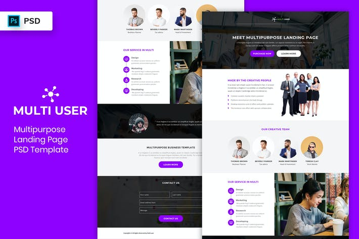 Thumbnail for Multipurpose - Landing Page PSD Template-05