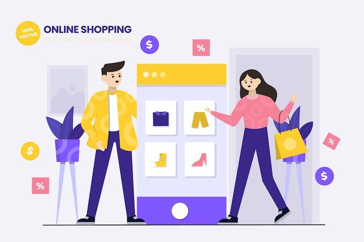 Thumbnail for Online Shopping Flat Vector Illustration