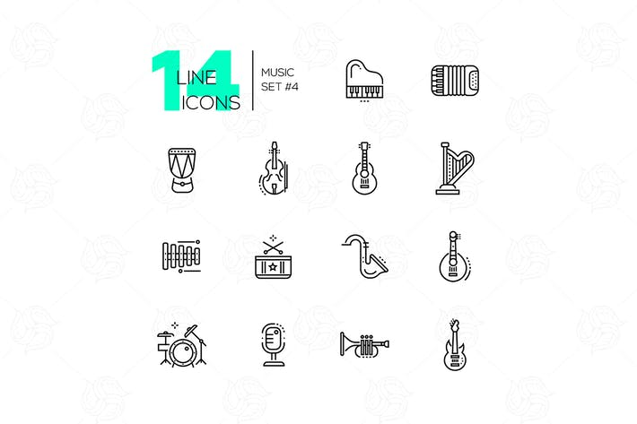 Thumbnail for Musical Instruments - line design style icons set