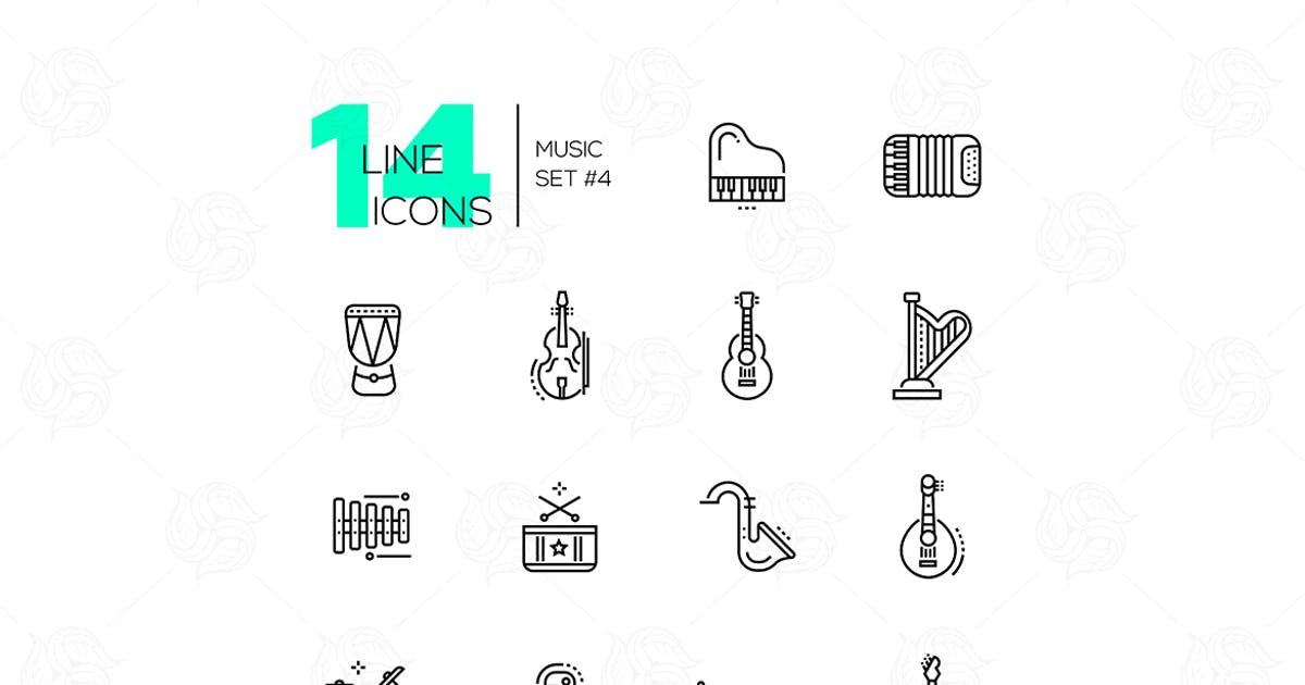 Download Musical Instruments - line design style icons set by BoykoPictures