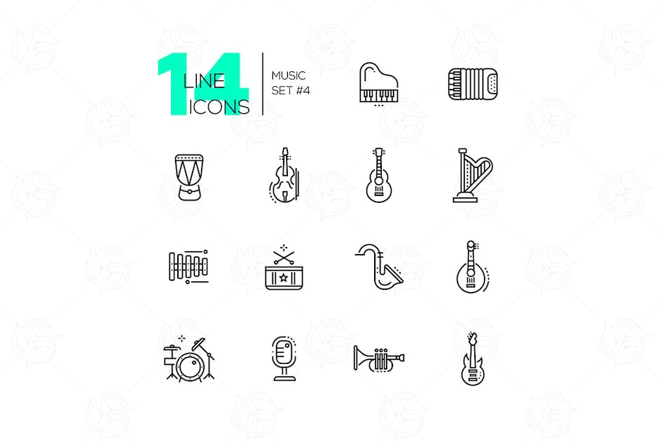 Download Musical Instruments - line icons set by BoykoPictures