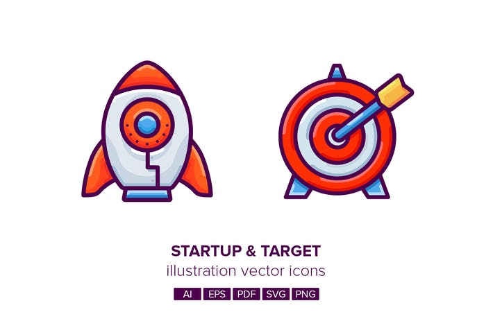 Cover Image For Startup & Target Illustration Vector Icons