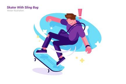 Skater With Sling bag - Vector Illustration