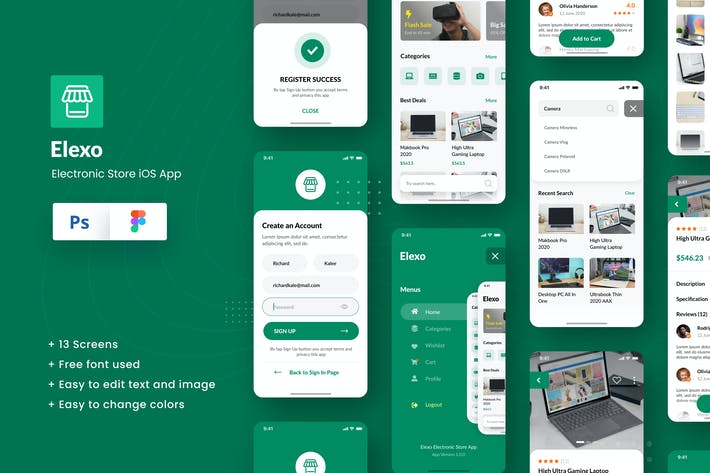 Thumbnail for Elexo Electronic Store iOS App Design Figma & PSD