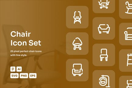 Chair Dashed Line Icon Set