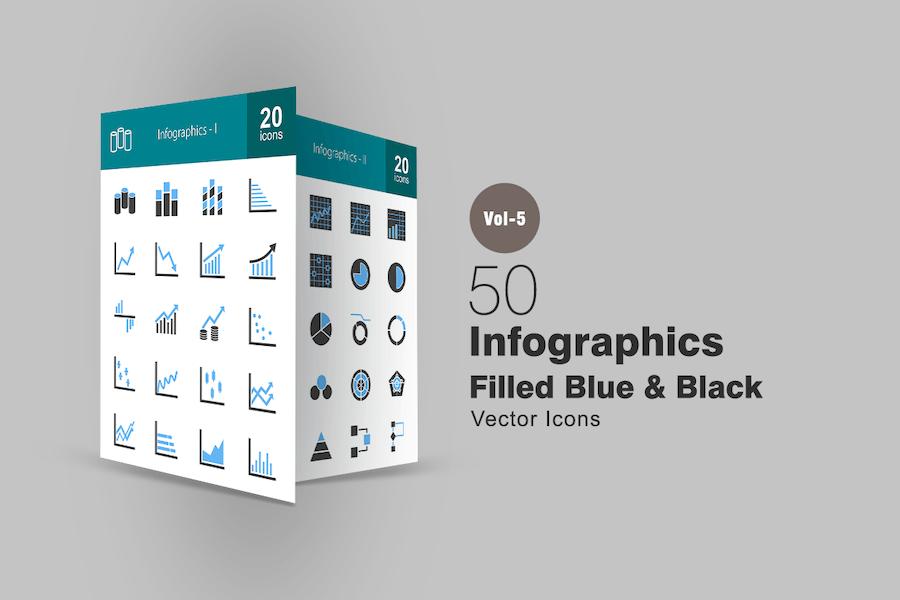 40 Infographics Blue & Black Icons