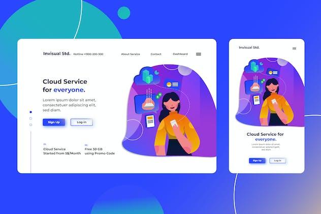 Cloud Service - Landingpage Ilustration