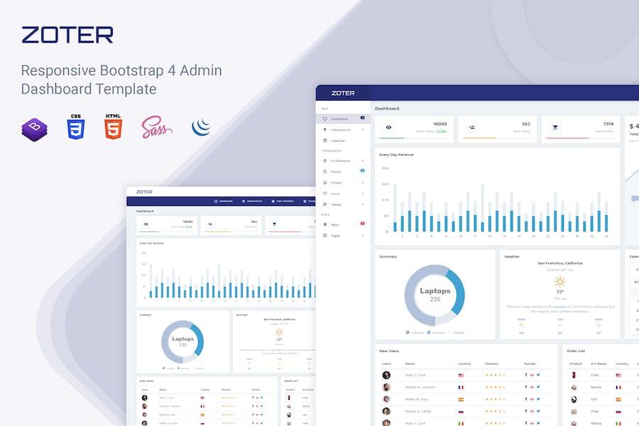 Zoter - Responsive Admin Dashboard Template