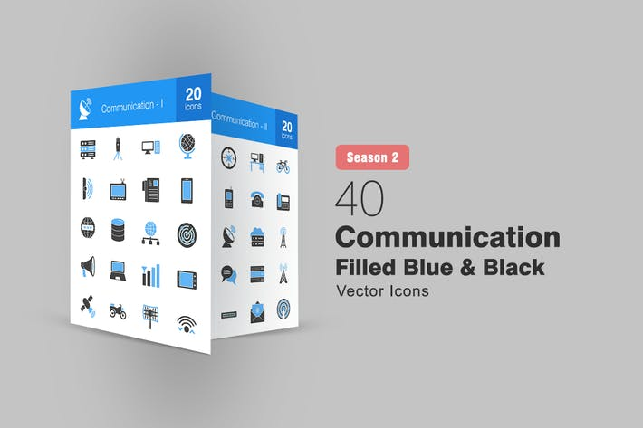 Thumbnail for 40 Communication Filled Blue & Black Icons S2