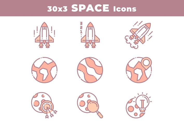 Thumbnail for 30 Space and Astronomy Icons