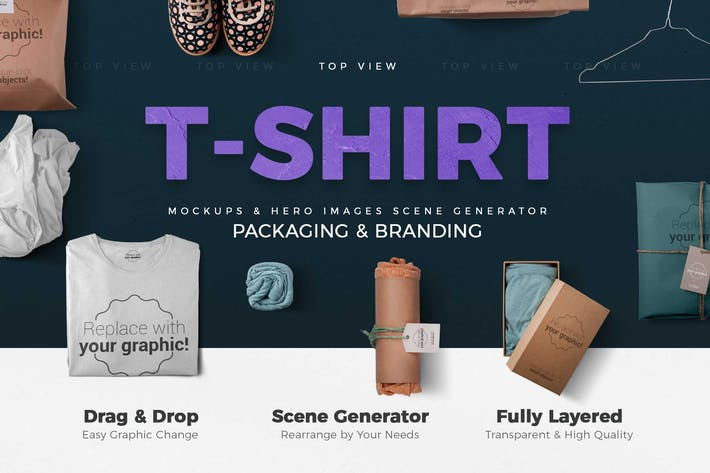 Thumbnail for T-shirt and Packages Mockups & Scene Generator