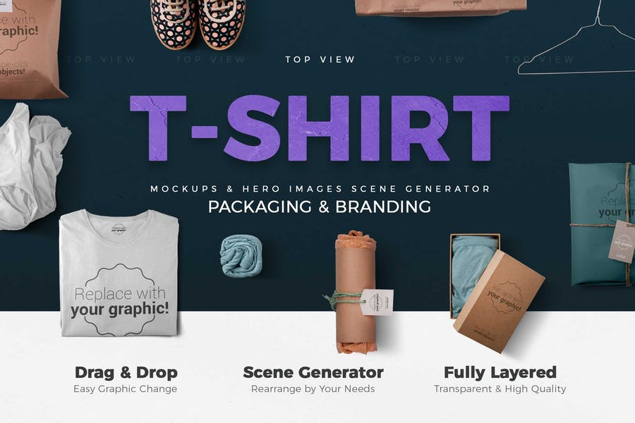T-shirt and Packages Mockups & Scene Generator